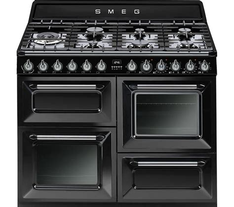 smeg syd4110bl 110 cm dual fuel range cooker black stainless steel stainless steel