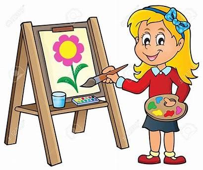 Canvas Painting Clipart Fille Peint Meisje Pintura
