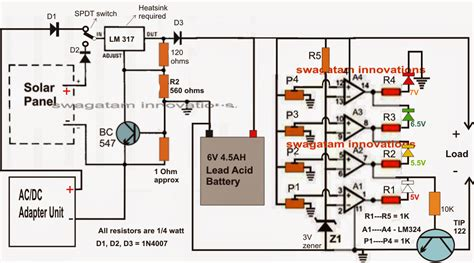 Solar Battery Charger Circuit With Automatic Cut Off