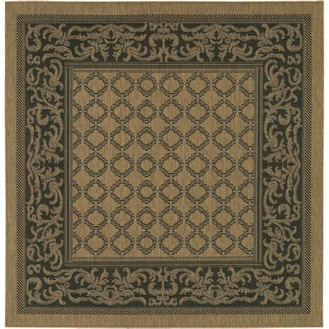 9 X 9 Outdoor Rug by Couristan Recife Garden Lattice Cocoa Black 9 Ft X 9 Ft