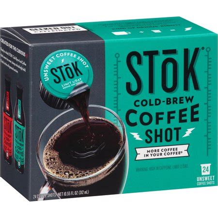 Caffeinated black coffee shots delivers 40 mg of caffeine per serving, which is equivalent to a shot of espresso. Stok Cold-Brew Coffee Shot 24 ct Box - Walmart.com