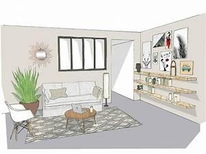Cabinet D Architecture D Intérieur : projet salon naturel architecte projet sketch dessin croquis deco decoration interieur ~ Nature-et-papiers.com Idées de Décoration