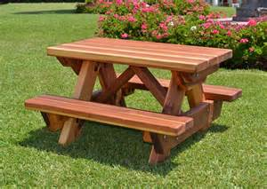toddler wooden picnic table with attached benches forever redwood