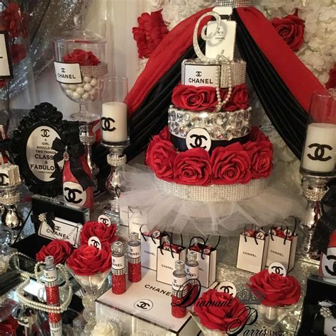 chanel birthday party red silver  black theme chanel