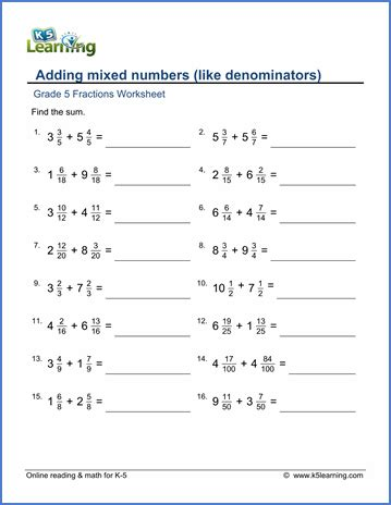 grade 5 fractions worksheet adding mixed numbers 222 fractions worksheets fractions mixed