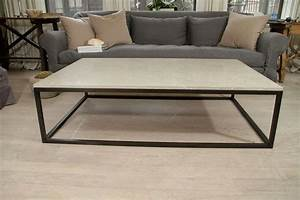 Seagrass stone top coffee table on blackened metal base at for Metal and stone coffee table