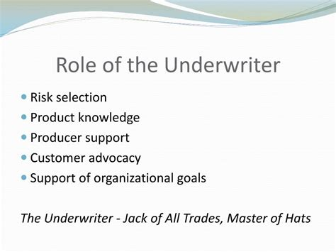 Maybe you would like to learn more about one of these? PPT - The Underwriter's Role in the Life Insurance Industry PowerPoint Presentation - ID:559903
