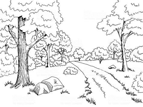 forest road graphic art black white landscape sketch