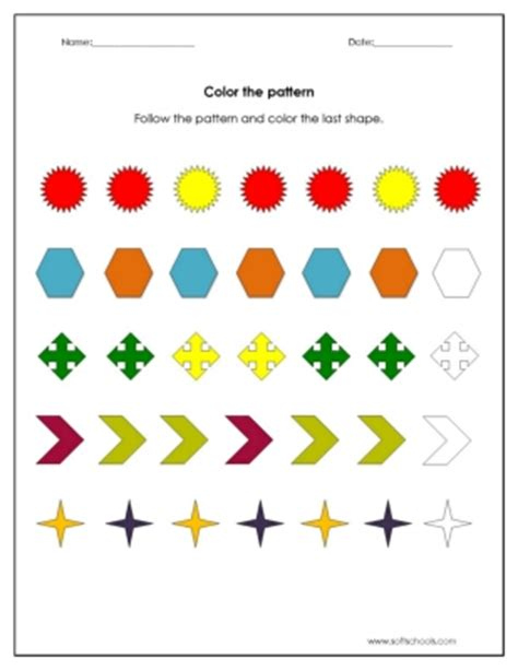 color  pattern worksheet worksheet