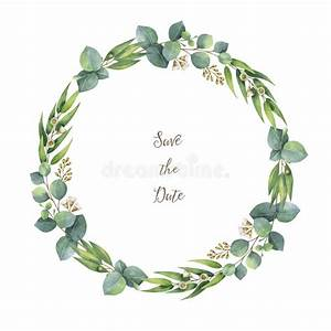Watercolor Vector Round Wreath With Silver Dollar ...