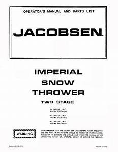 Jacobsen Imperial Snowblower  Thrower Manuals