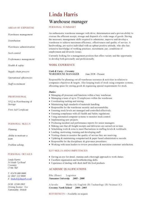 Warehouse Executive Resume Format by Warehouse Manager Cv Sle