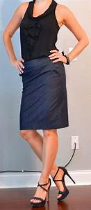 Outfit posts black ruffle tank denim pencil skirt black strappy heels | Outfit Posts