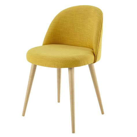 chaise moutarde yellow fabric vintage chair mauricette maisons du monde