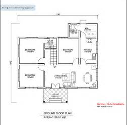 square house floor plans kerala style single floor house plan 1155 sq ft