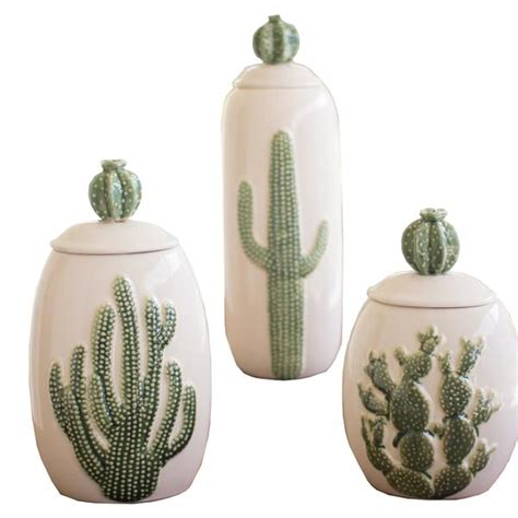ceramic southwest cactus cacti canisters set of 3 woodwaves