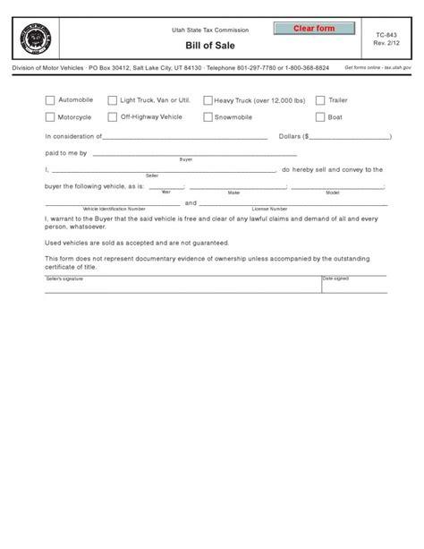 utah vehicle bill  sale form tc