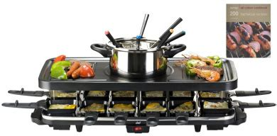 shef 12 person raclette grill with 6 fork fondue set 12 raclette pans free hamlyn 200 bbq