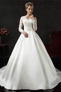 vintage ball gown long sleeve lace satin wedding dress With satin sleeve wedding dress