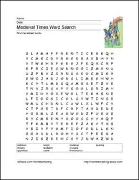 word search castles and armor elementary featuring