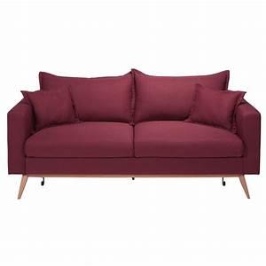 canape tissu convertible 3 places 28 images canap 233 With tapis de marche avec housse de canapé rouge 3 places
