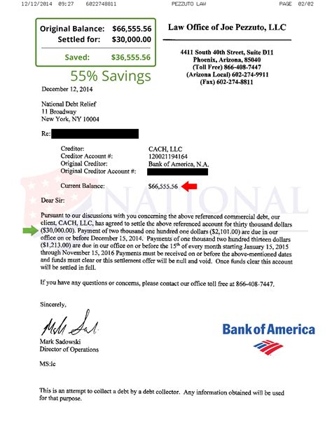 bank of america letter of credit debt settlement letters