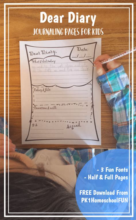 Daily Diary Journal Pages For Kids  Free Homeschool Deals