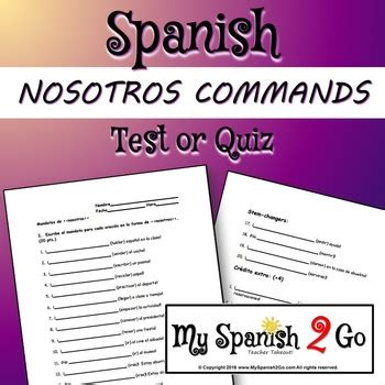 nosotros commands test or quiz by my 2 go