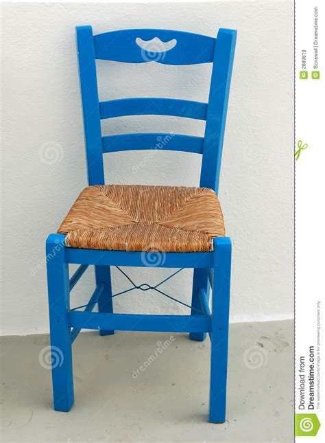 blue chair  greek patio stock image image  white