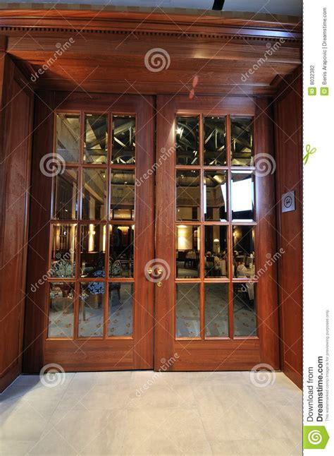 the door restaurant in big wooden door in restaurant stock photo image of