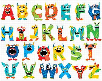 Banner Abc Monster Clipart Alphabet Printable Letters