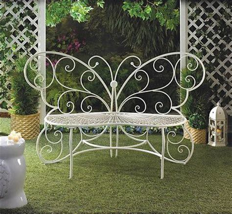garden wrought iron white butterfly park bench lawn chair