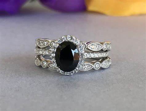Art Deco Oval Black And White Simulated Diamond Engagement