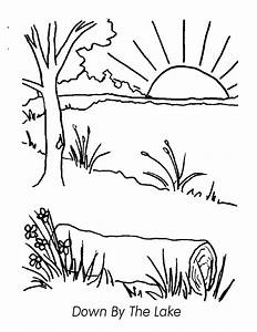 Free coloring pages of lake scene for