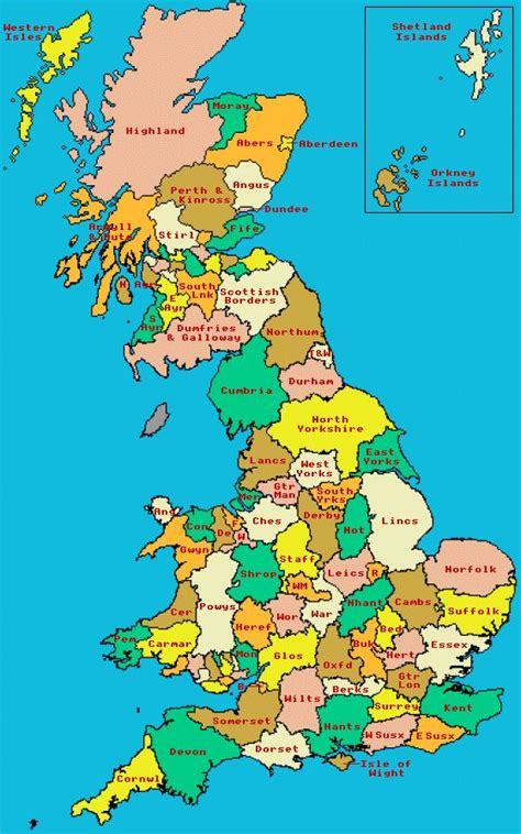 county map post  counties  great britain england