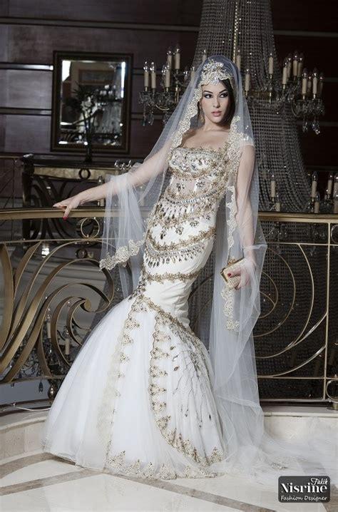 luxury arabic style muslim wedding dresses beads crystal