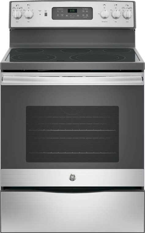 jbskss ge  electric range convection  clean stainless steel