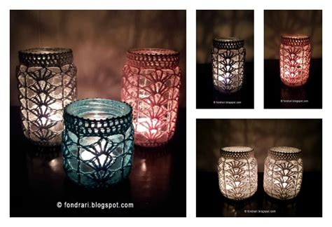 light mason jar cover  crochet patterns