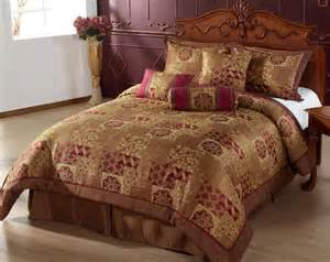 7pc comforter set brown gold burgundy bed in a bag queen size bedding