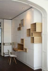 Construire Un Bureau : rangements asym triques pour bureau casiers ouverts en bois qui s 39 intercalent avec les ~ Melissatoandfro.com Idées de Décoration