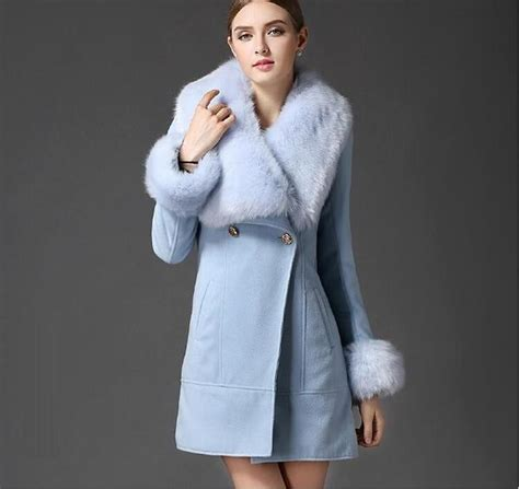 light blue faux fur coat women 39 s light blue faux fur collar wool woolen coat jacket