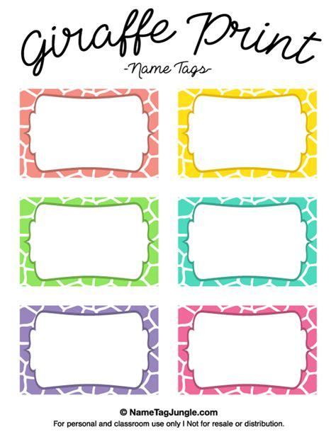 name tag template free printable printable giraffe print name tags