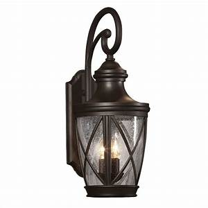 Shop allen roth castine 2375 in h rubbed bronze outdoor for Outdoor wall lights