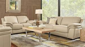 cindy crawford home grand palazzo beige leather 5 pc With beige couches living room design