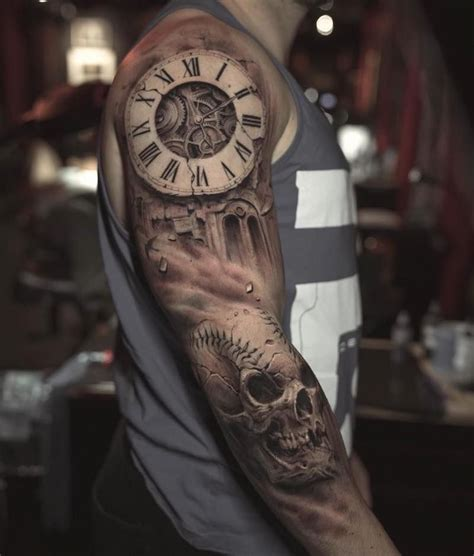 clock tattoo clock tattoo  sleeve tattoos  guys