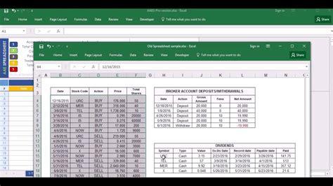 stock portfolio excel spreadsheet youtube