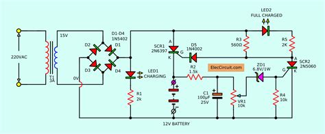 Automatic Battery Charger Circuit Projects Eleccircuit