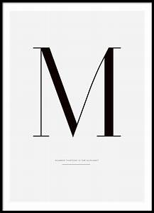 black and white typography poster with letter m posters With white poster letters