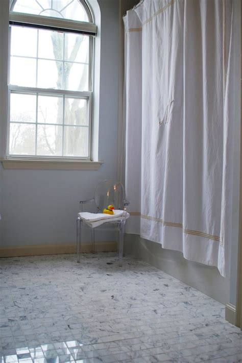 monogrammed shower curtain transitional bathroom