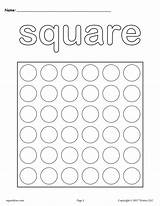 Square Shapes Dot Printable Coloring Printables Worksheets Pages Preschool Shape Toddlers Preschoolers Triangle Worksheet Activities Marker Dots Cutting Dauber Supplyme sketch template